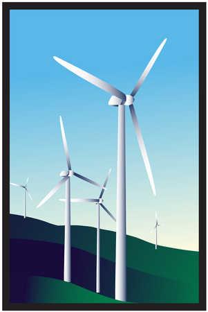 Wind turbines on a hillside