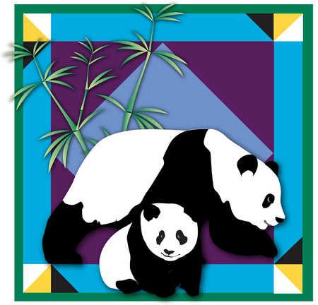 Large panda bear stepping over small panda