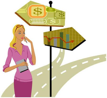 Woman making decision on path to take