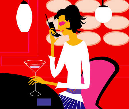 Woman talking on a cell phone while drinking a cocktail
