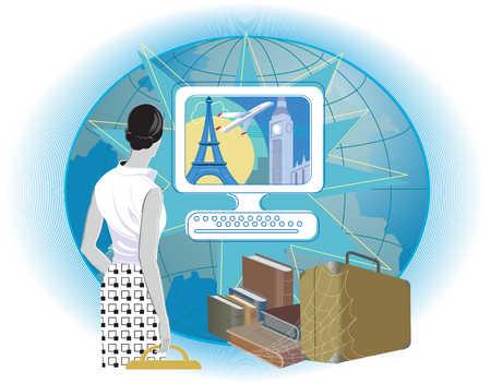 Woman looking at Paris and London through computer