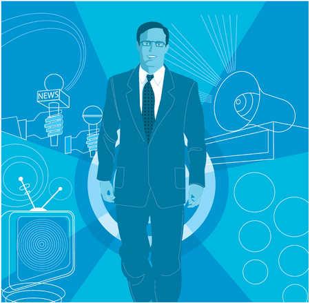 Businessman walking through loudspeaker and microphones