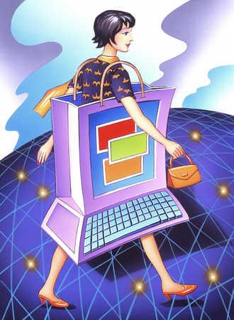 Woman wearing a computer as a dress