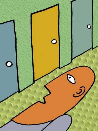 Man Facing Three Doors