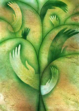 Hands As Leaves On Plant