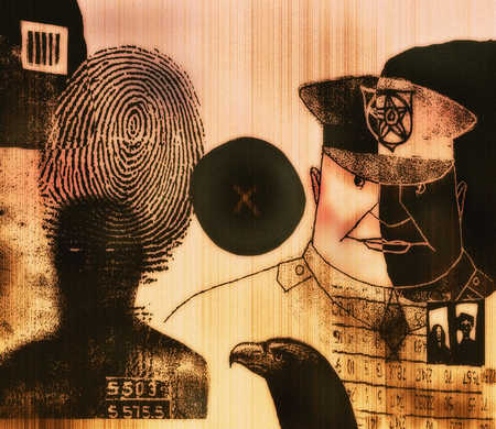 Montage of law enforcement including thumbprint, criminal, and police officer