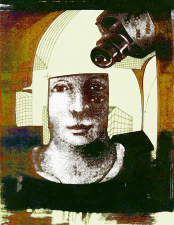Woman's face beneath a security camera