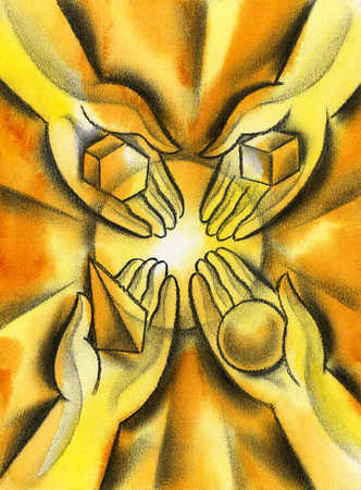 Hands holding four geometrical objects
