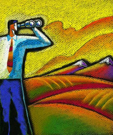 Man looking through binoculars in the countryside