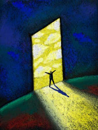 Man standing in lighted doorway with hands raised
