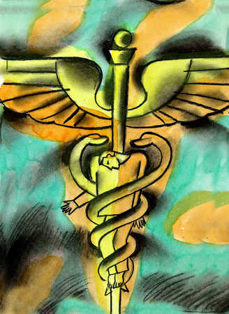 View of a man tied up in the snakes of a caduceus