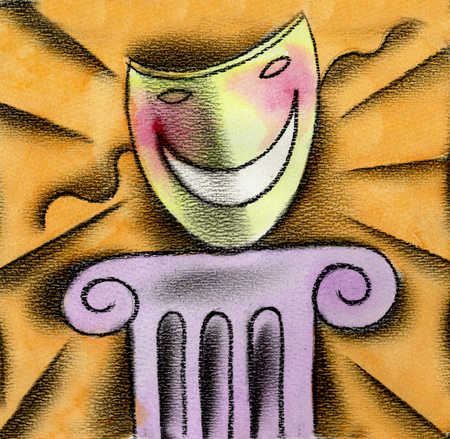 View of a happy mask on a pedestal