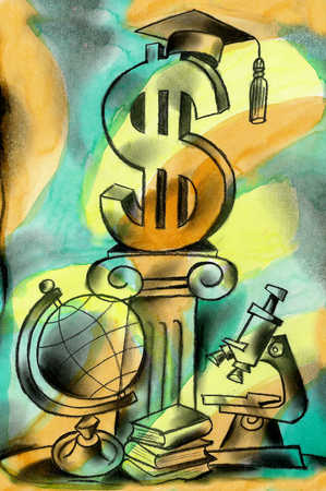 View of a dollar sign with a graduation hat on it surrounded by a globe, books and a microscope