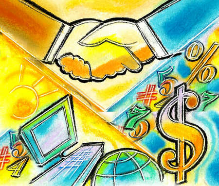 View of two businessmen shaking hands over dollar signs, percentages and a computer