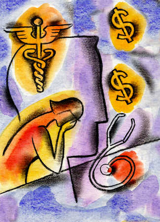 View of a woman crying over a stethoscope, dollar signs and a caduceus