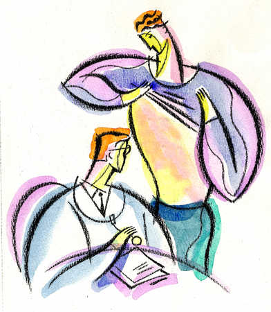 View of a man showing a doctor his chest