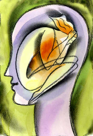 Abstract view of a curled up woman inside a woman's head