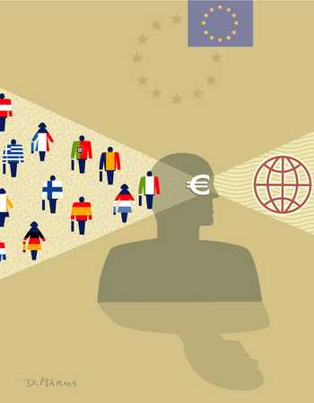 Figure Seeing World Through Euro