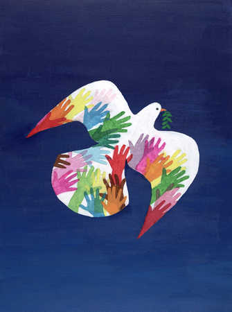Dove with imprints of colored hands