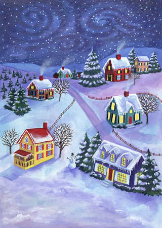 Small village at Christmas time