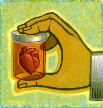 Hand holding heart in a jar