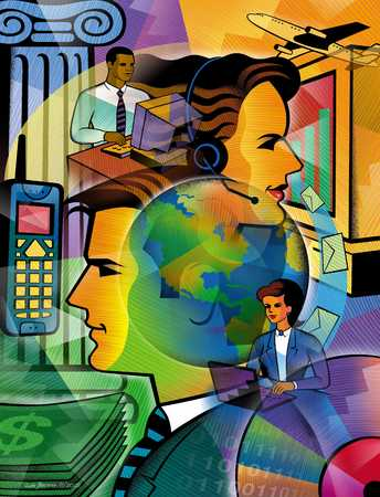 Montage of business icons including mobile, businesspeople, and headset