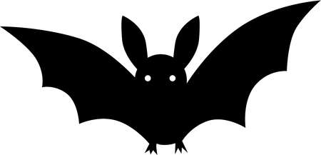 Black and white drawing of a bat
