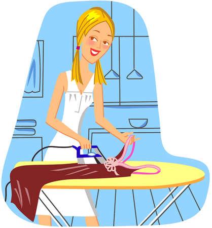 A woman ironing a dress