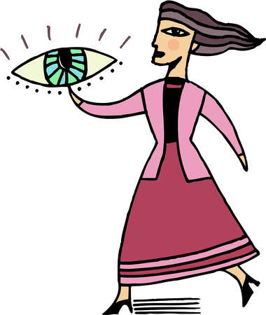 Illustration of a businesswoman pointing to an eye