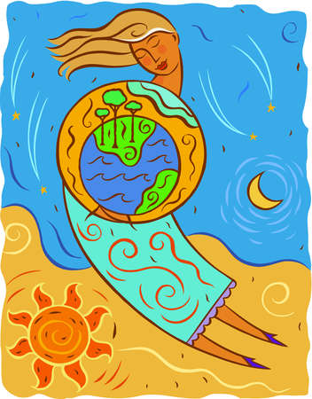 Illustration of mother earth holding the planet