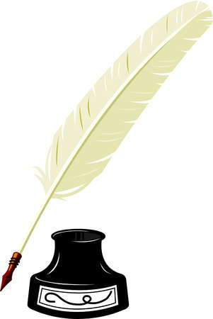 Illustration of a feather pen and an inkwell