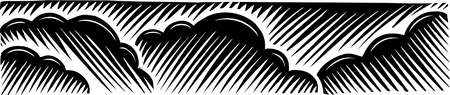 Illustration of clouds in scratch board style