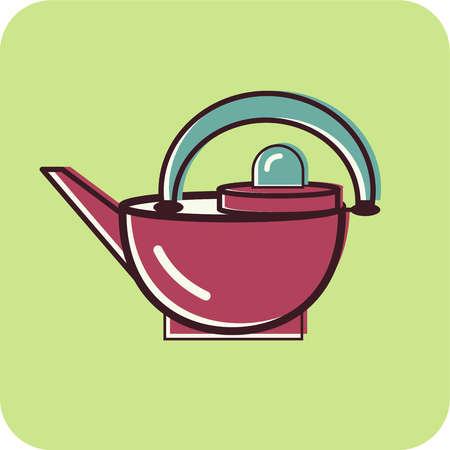Illustration of a kettle on a green background