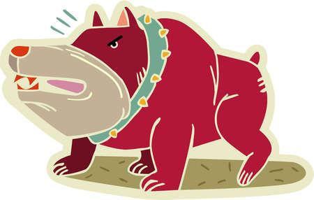 An angry bull dog growling