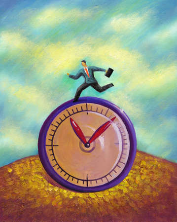 A business man running on top of a clock