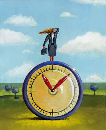 A businesswoman standing on top of a clock