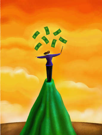 A woman juggling with dollar bills over a cliff