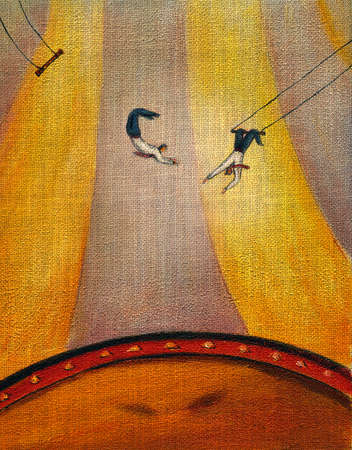 Two businessmen swinging from a trapeze
