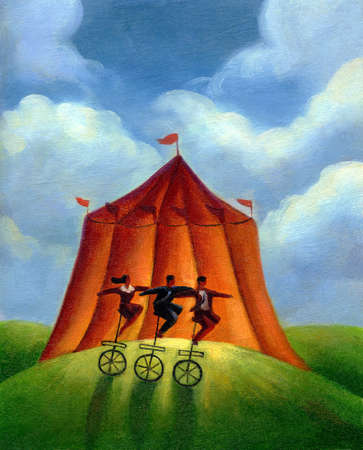 Three people on unicycles infront of a circus tent
