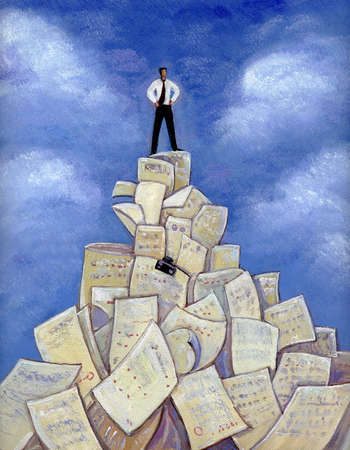 An illustration of a man standing on a pile of paper