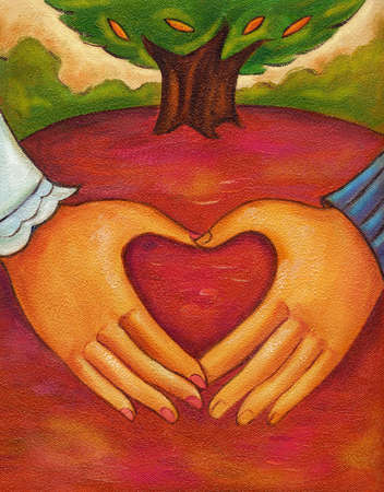An illustration of two hands forming a heart
