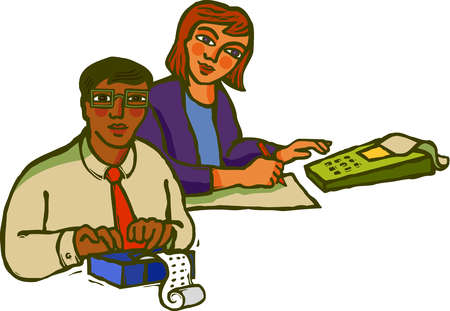Two accountants using calculators as they work