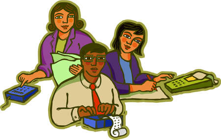 Three accountants working together