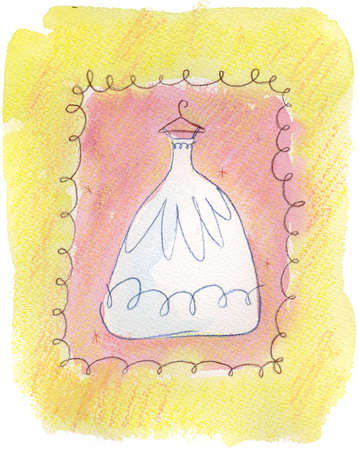A wedding dress on yellow and pink background