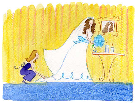 A maid of honor fixing the bride's dress