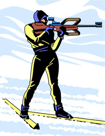 An image of a biathlon athlete wearing skis whild holding a rifle