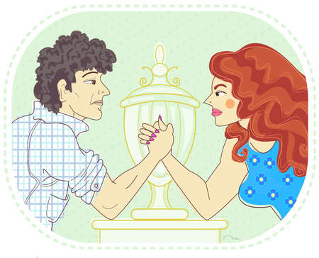 A man and woman arm wrestling