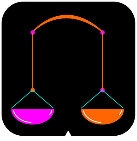 Libra icon with a black background