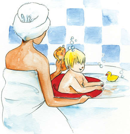 A mother bathing her son in the bathtub