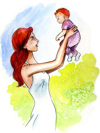 Stock Illustration A Mother Holding Her Baby Up In The Air